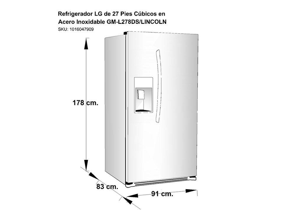 Refrigerador 27 pies c bicos lg acero inoxidable gm l278ds liverpool es parte de mi vida - Dimensiones de una nevera ...