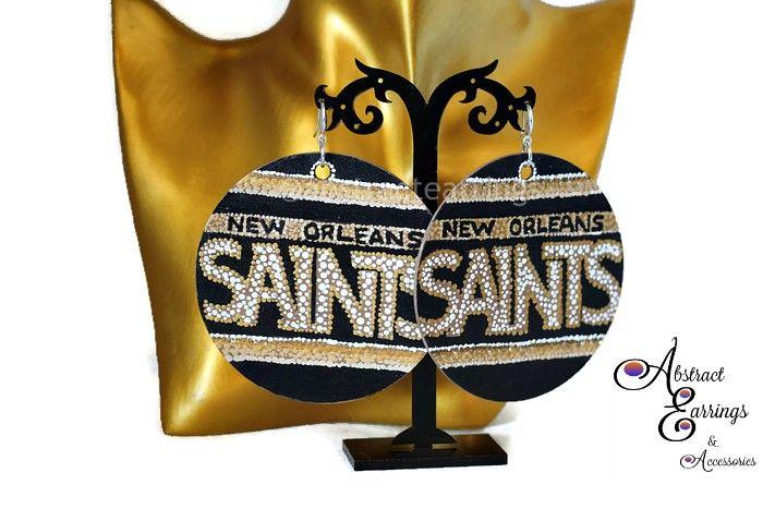 New Orleans Saints Earrings Football Nfl Sports Jewelry Mardi Gras