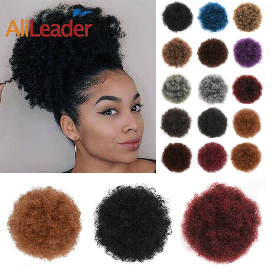 Puff Afro Hair Bun Wrap On Ponytail Extensions Drawstring Clip In Curly Chignon Ad Sponsored Bun Wrap Hair Afro Hair Bun Bun Hairstyles Afro Hairstyles