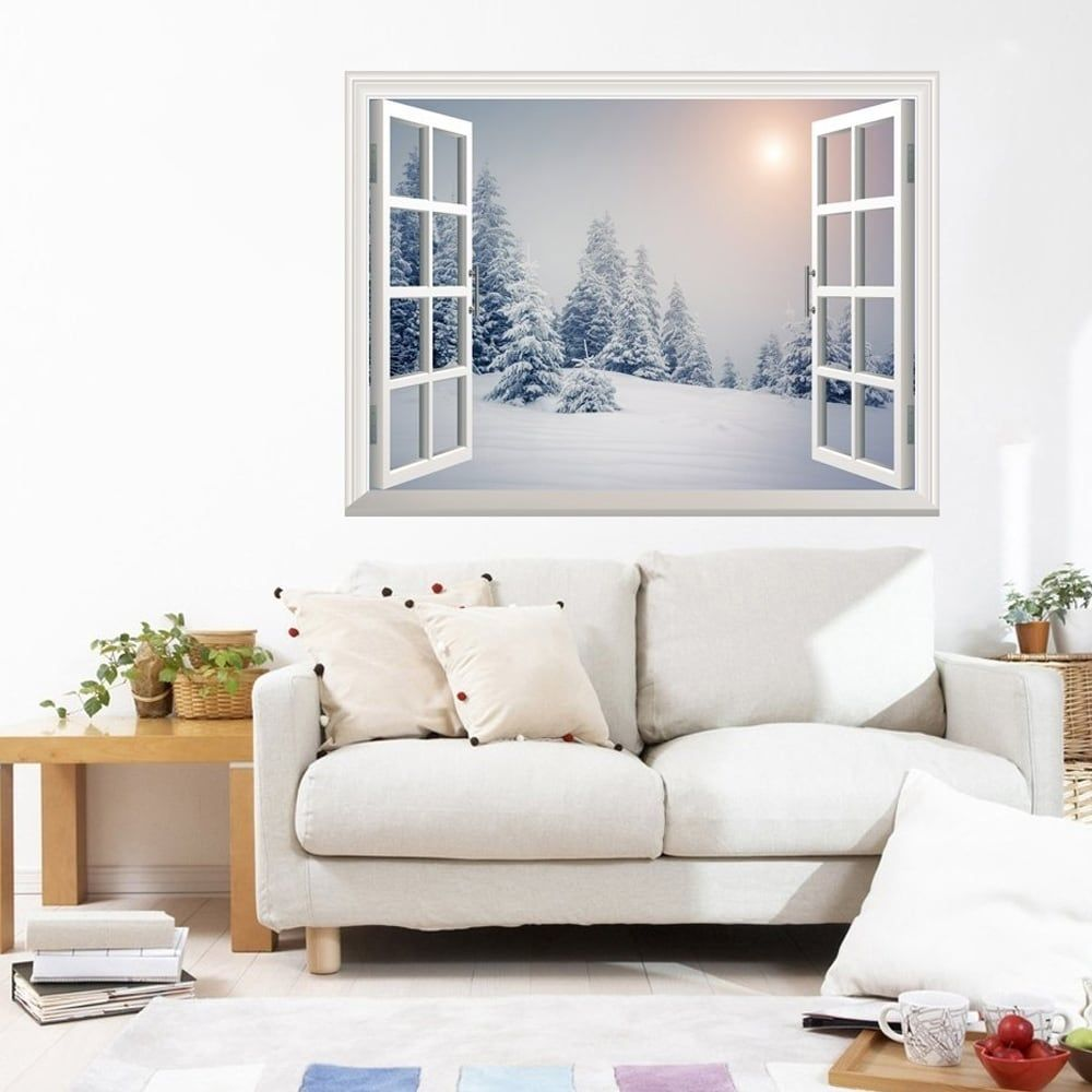 Pine trees covered by white snow wall mural removable sticker pine trees covered by white snow wall mural removable stickerhome decor wall vinyl amipublicfo Gallery