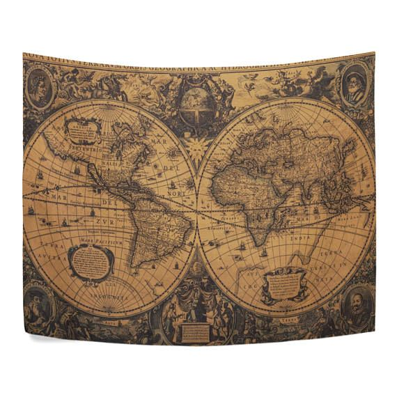 Vintage retro earth world map tapestry old yellow abstract wall vintage retro earth world map tapestry old yellow abstract wall hanging art for dorm room home decor gumiabroncs Images