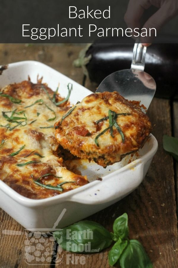 Layered, Baked Eggplant Parmesan #vegetariandish