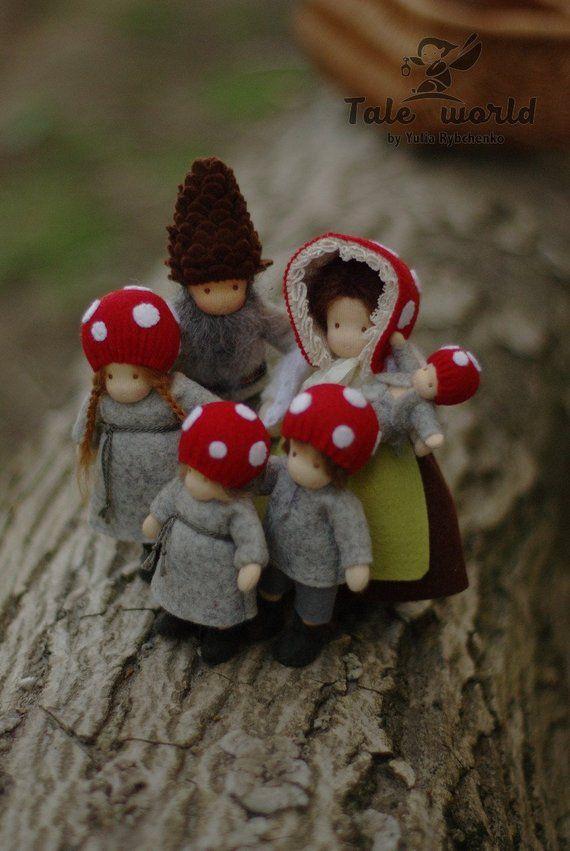Kinder der Wald Familie Puppen Waldorf Puppen Puppenhaus Familie Pilz Puppen Waldorf Puppen #dollsdollsdolls