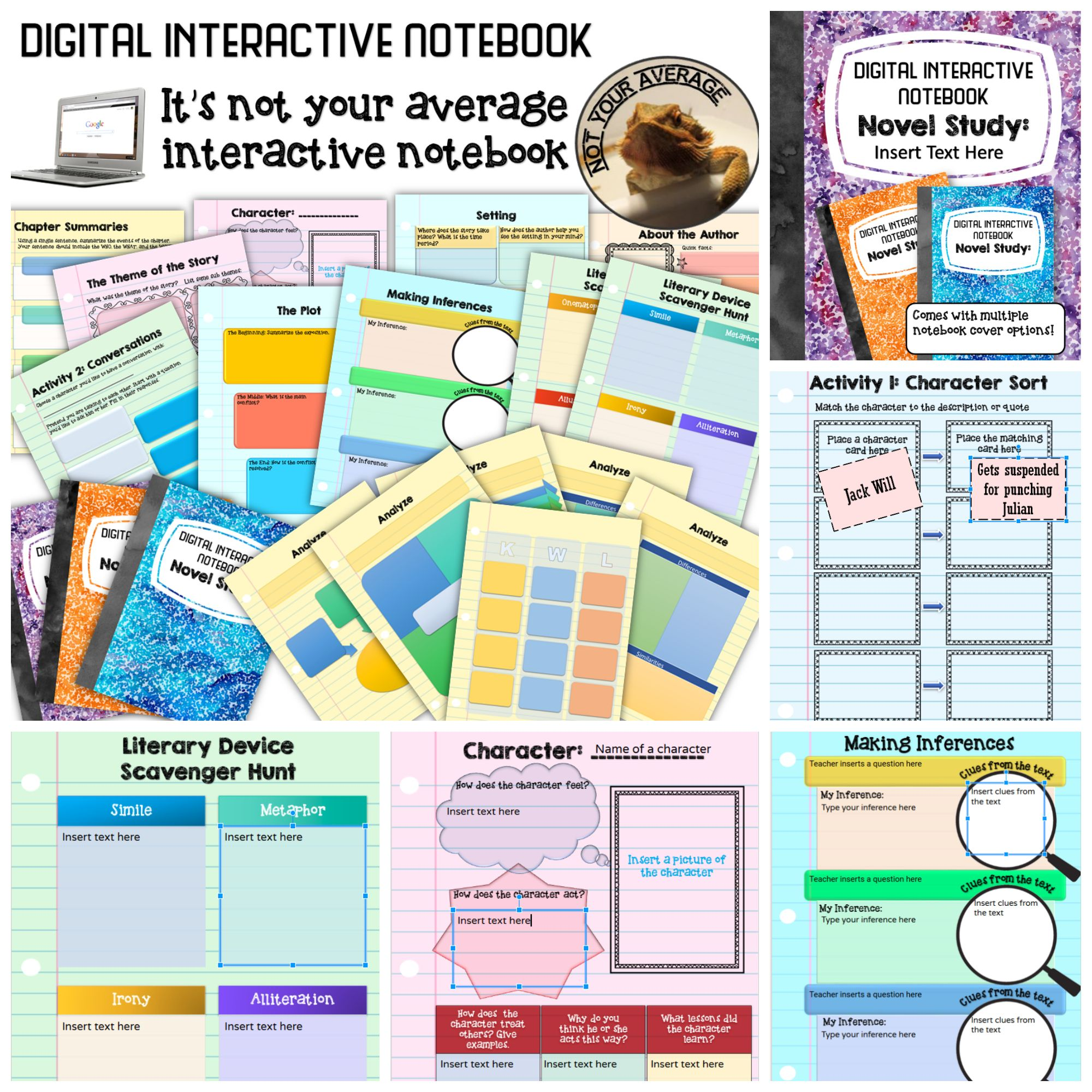 new digital interactive notebook for any novel study middle school rh pinterest co uk A Book for Novel Study Exanple Novel Study
