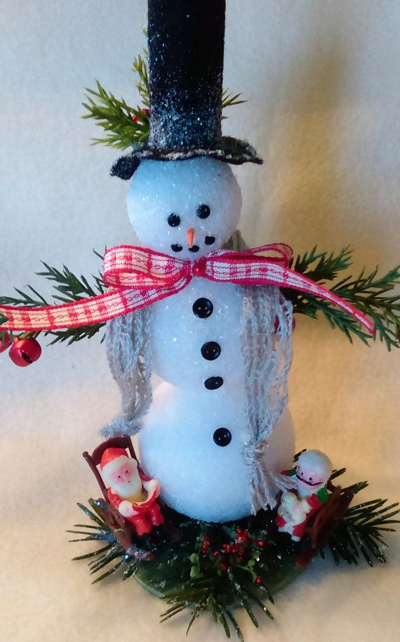 Snowman Chirstmas ornament that is handmade by TheresaSnowBound