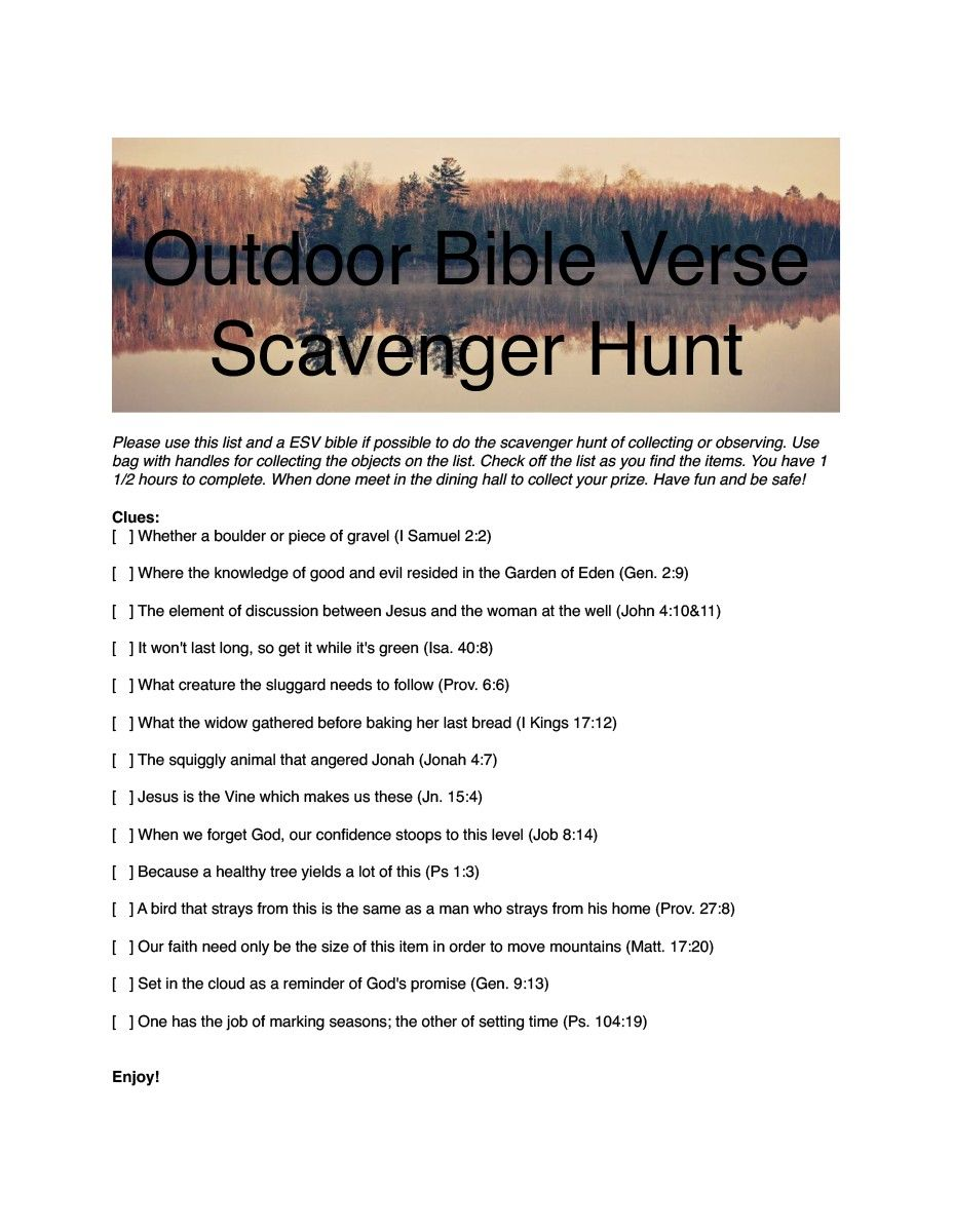 Family Camp Scavenger Hunt 1 Pdf Vanessa Beckett Has