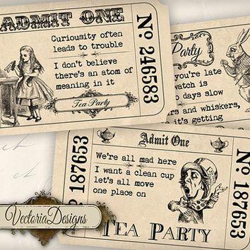 INSTANT DOWNLOAD Alice In Wonderland Tea Party Invitation Tickets - Free birthday invitations alice in wonderland