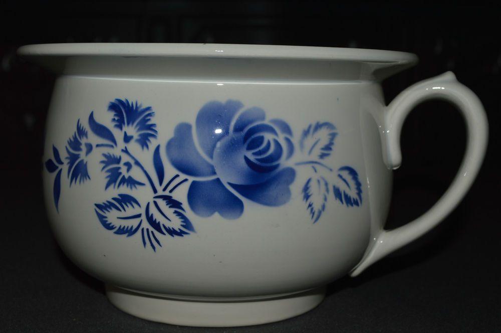 Ancien Pot De Chambre Faience Digoin Sarreguemines 1920 1950 Decor Fleurs Bleus Decoration Pots Vaiselle