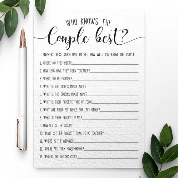 Fun Wedding Reception Ideas Activities: Who Knows The Couple Best ? Bridal Shower Games. Bridal