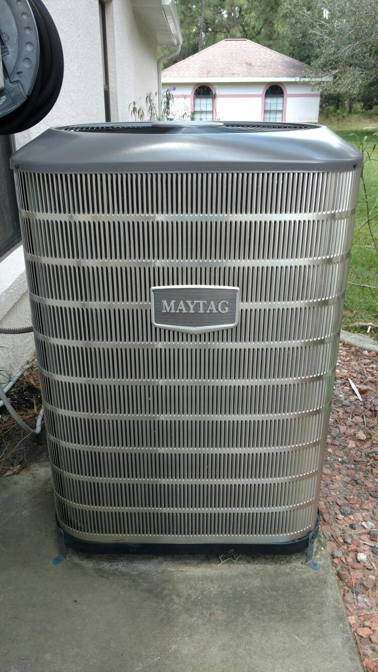 Maytag 15 Seer Heat Pump Split System Installed By Beacon Services Beacon Air Heat Inc In Pine Ridge Florida Installation Heat Pump Split System