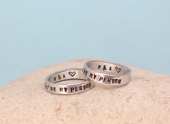 Personalized You Are My Person Rings Couple rings by keepWEARME