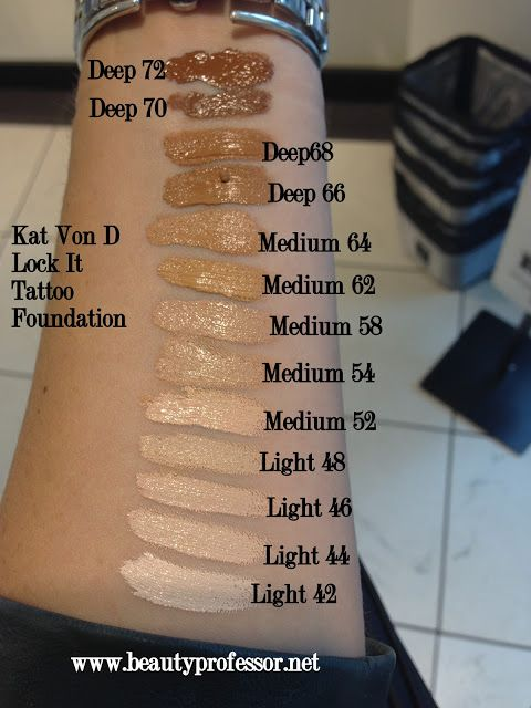 Kat Von D Lock It Tattoo Foundation Swatches Of All Shades Makeup Tips Foundation Foundation Swatches Makeup Tips