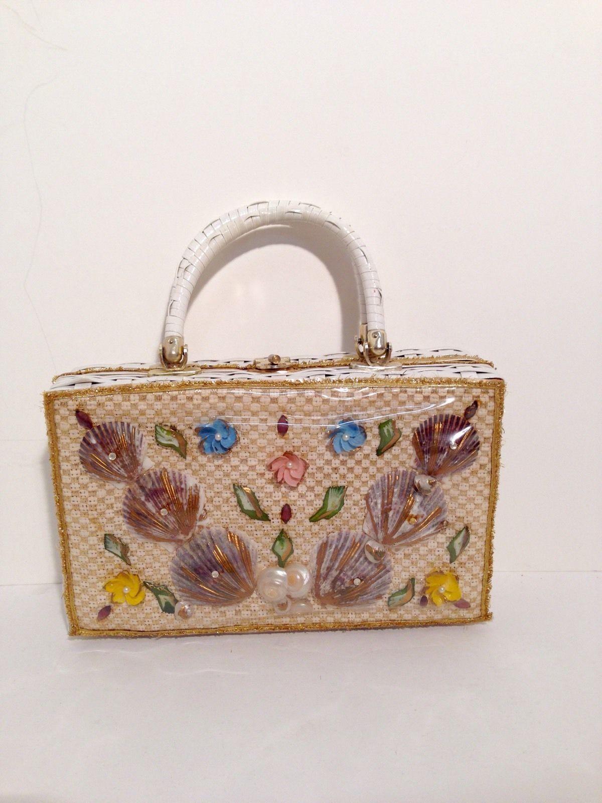 Vintage 50 S Florida Princess Charming Atlas Seashell White Wicker Handbag Purse Ebay
