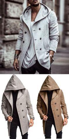 British Mens Hooded Wool Coat Coat