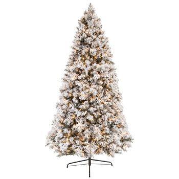 Fast Shape Flocked Ponderosa Pre Lit Christmas Tree 9