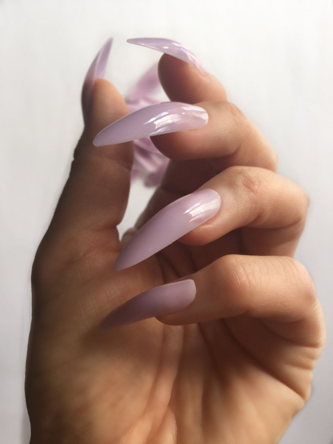 Extra long sheer lilac stiletto claw false nails. 24 pieces by ...