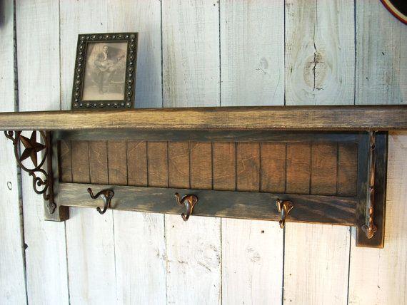 Western Coat Rack Shelf Handmade Furniture By Nottooshabbyshelves