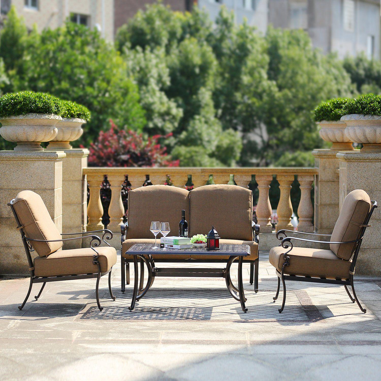 Domi Outdoor Living Patio Furniture Dining Set 4 Piece Cast Aluminum