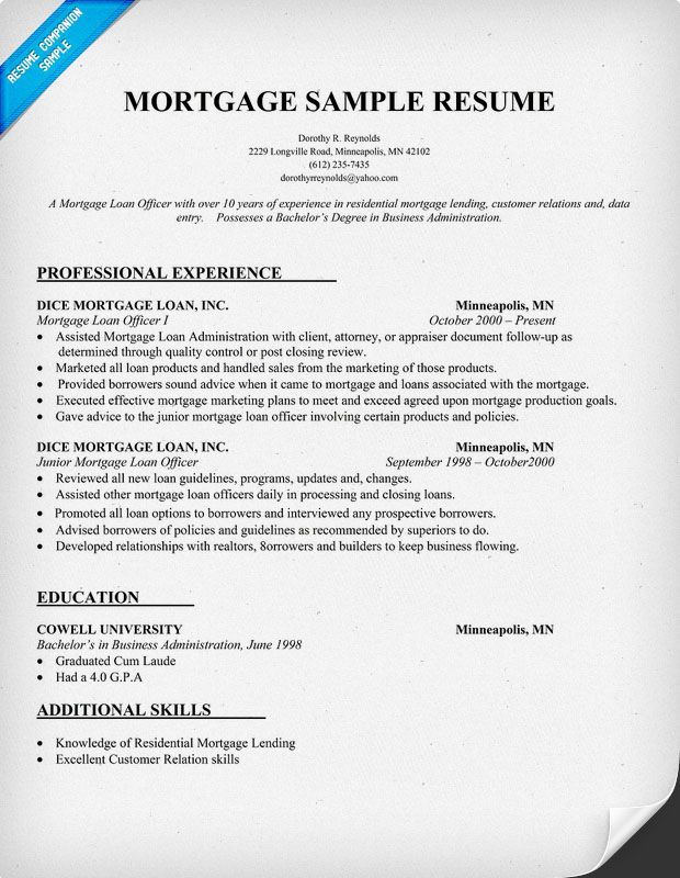 Hypotec is here to help! Take Advantage of Our 10 Years +experience - Commercial Loan Officer Sample Resume