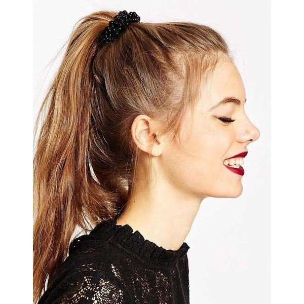 ASOS Beaded Hair Tie ($8.50) ❤ liked on Polyvore featuring accessories, hair accessories, hair, beauty, hairstyles, black, beaded hair ties, asos, ponytail hair ties and beaded hair accessories