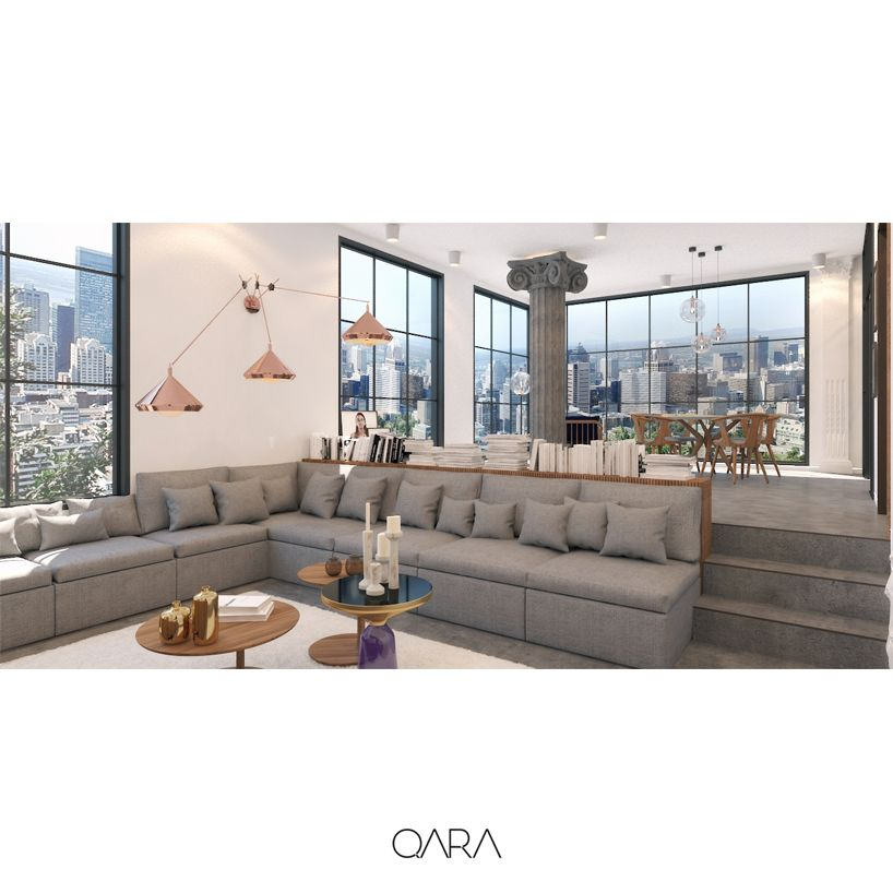 Apartment interior design with glass facade system. Kitchen with glass doors. Living Room's elevation at a difference level splits it from the other section. Bell table by Sebastian Herkner. Bloop table by artisan.  www.qara.work
