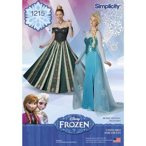 ddf7b58caf45 Diy Sewing Pattern-Simplicity 1215 Frozen Elsa and Anna Costumes Misses  Size ONLY Size 6-12