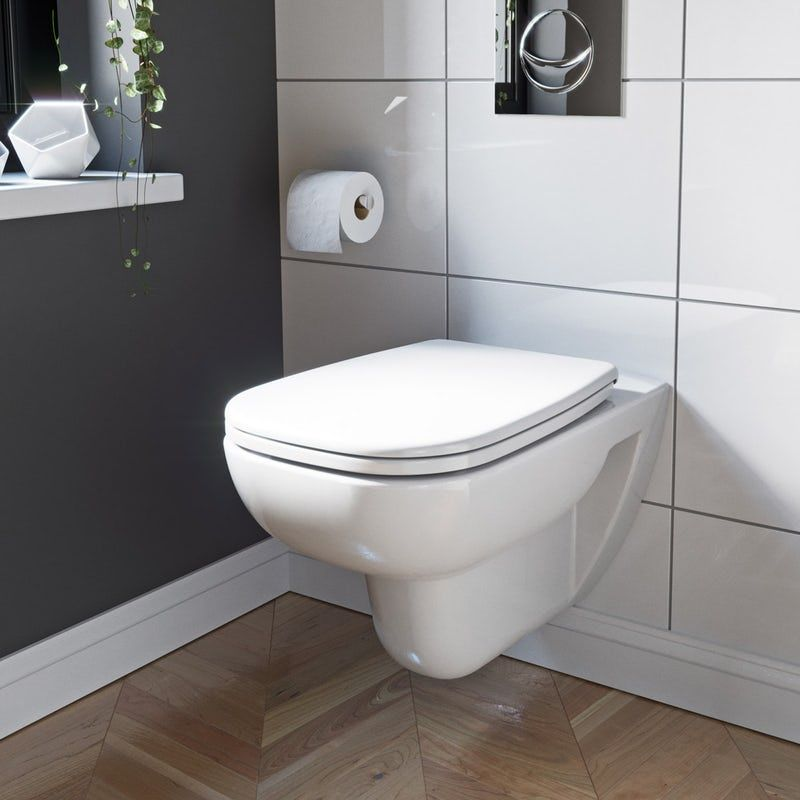 Wondrous Duravit D Code Rimless Wall Hung Toilet With Soft Close Seat Machost Co Dining Chair Design Ideas Machostcouk