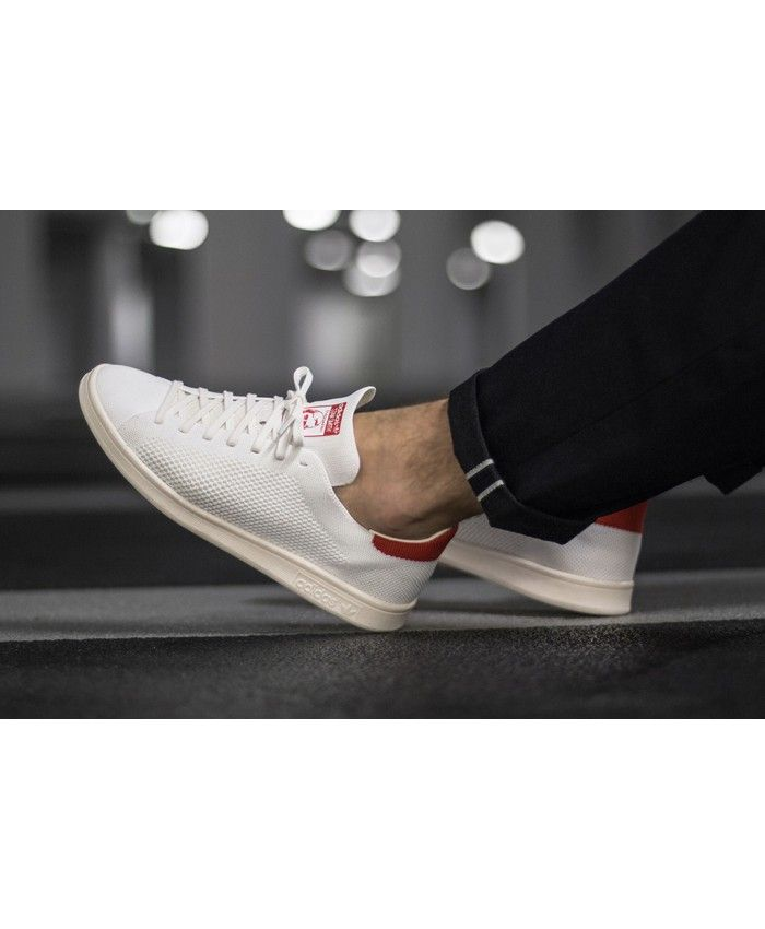 Mens Adidas Stan Smith OG PK Pack Primeknit White Red Shoes  1c3d6720f