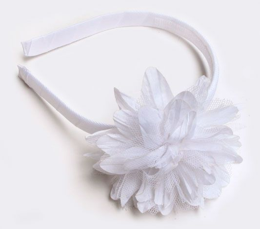 Baby CZ :: older girl :: shoes & accessories :: Headband with Chrysanthemum in White