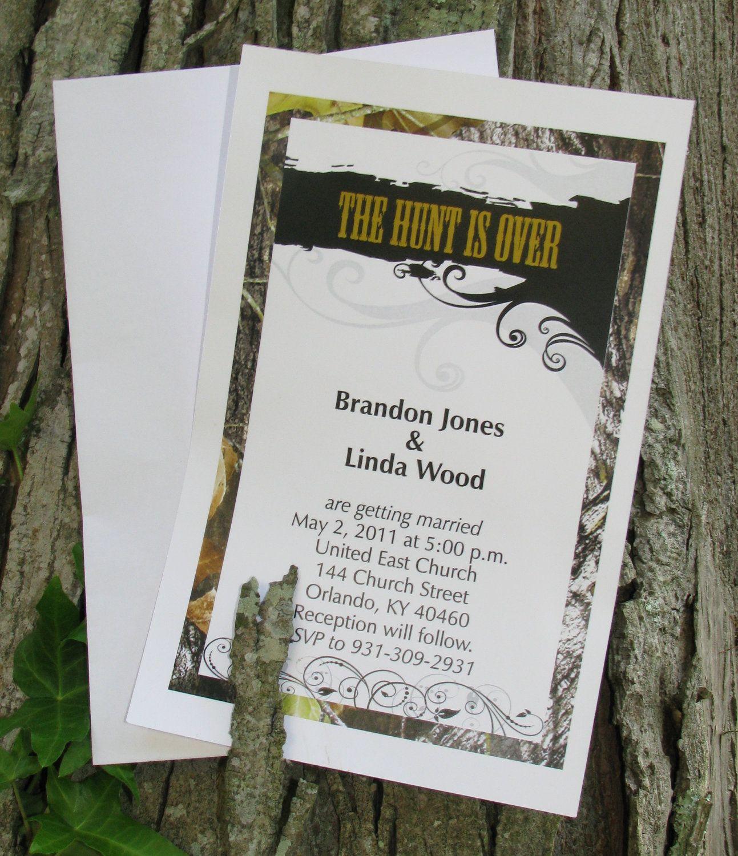 50 mossy camo the hunt is over wedding invitations envelopes 3500 - Redneck Wedding Invitations