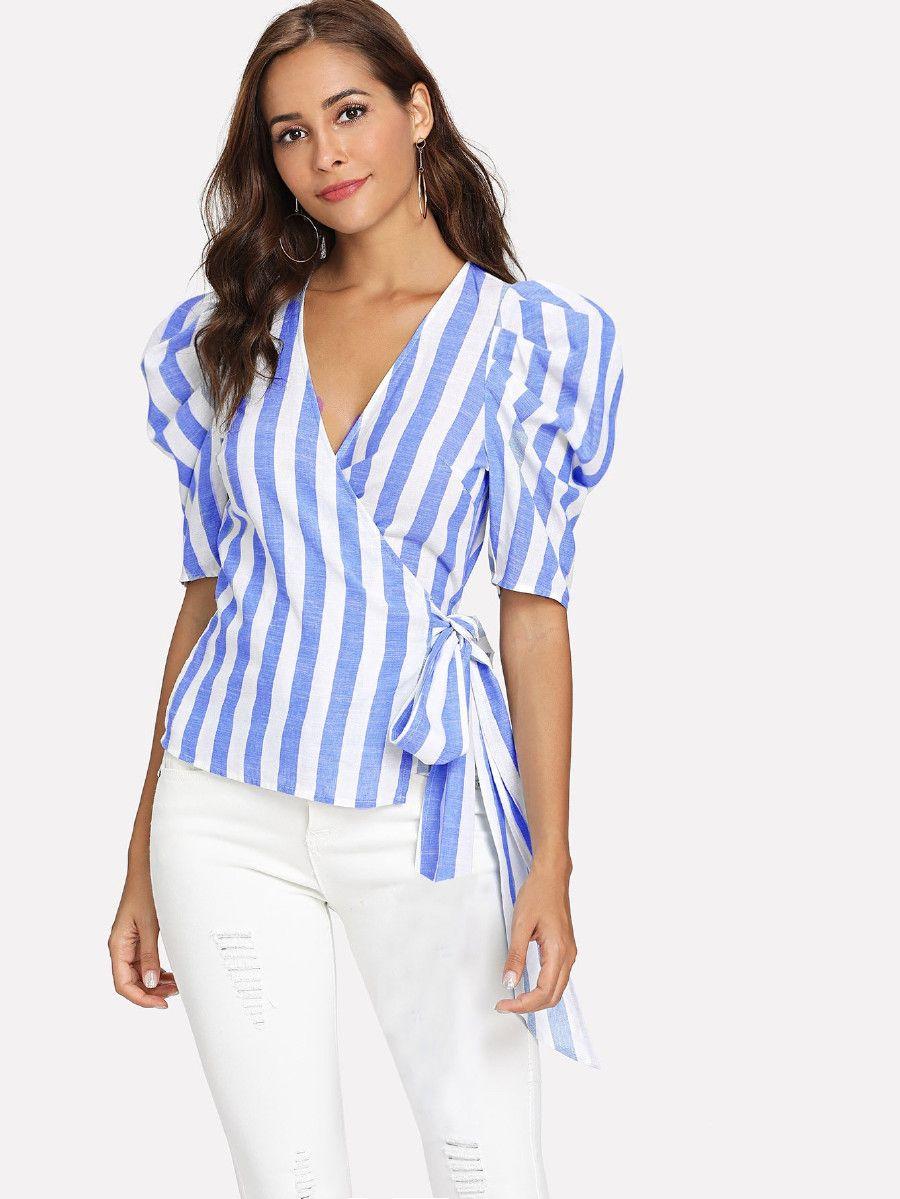 b8b5658767cd0 Puff Sleeve Striped Wrap Top -SheIn(Sheinside)