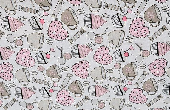 Baby Fabric By The Yard Nursery Cupcake Pattern Russian Cotton Funny Y