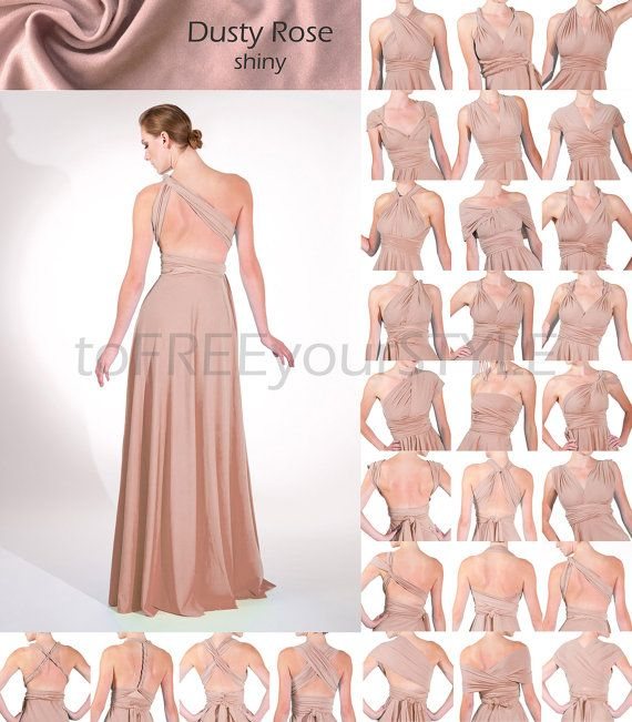 120- Long infinity dress in DUSTY ROSE shiny 4e2f2710576f