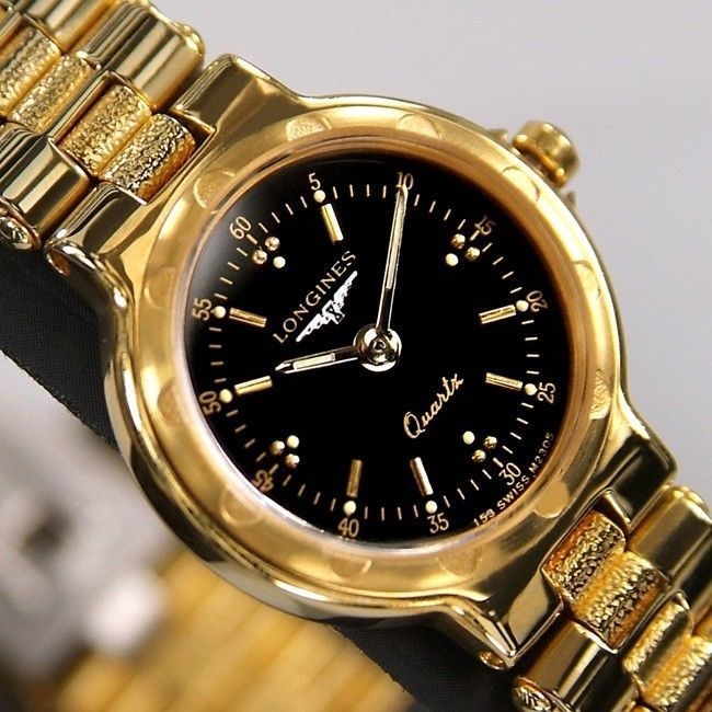 2105b8a36bf Longines Conquest Ladies Quartz Black Dial 18K Gold Plated Swiss Rare Used  Watch  Longines  LuxuryDressStyles