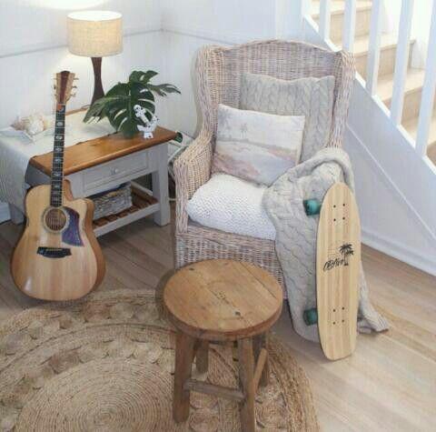 Chair, stool, rug, throws xx