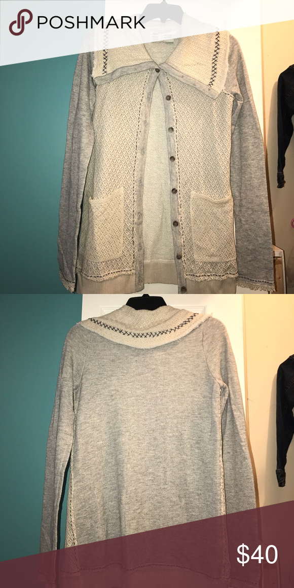 NWOT cardigan Brand new!! Precious cardigan - gained weight before having a chance to wear :( Gray with navy stitching and taupe overlay Anthropologie Sweaters Cardigans
