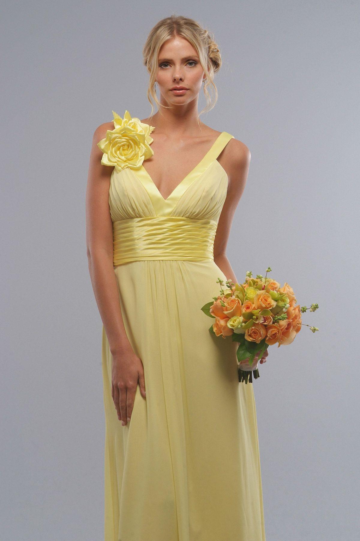 Natural wedding dresses  Beautiful sleeveless with natural waist dress for bridesmaids