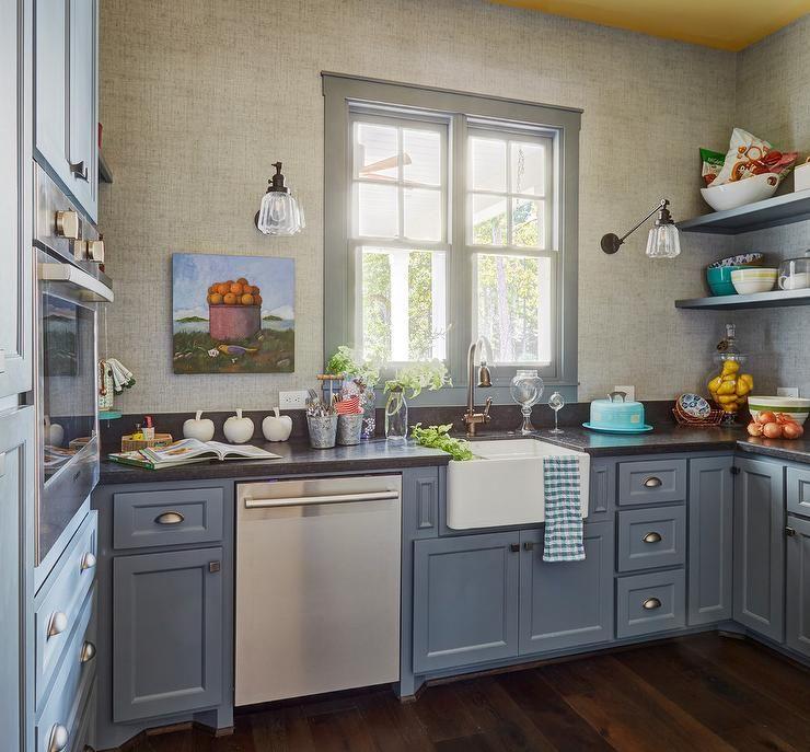 Blue Cottage Kitchen Pantry Home Kitchens Cottage Kitchen