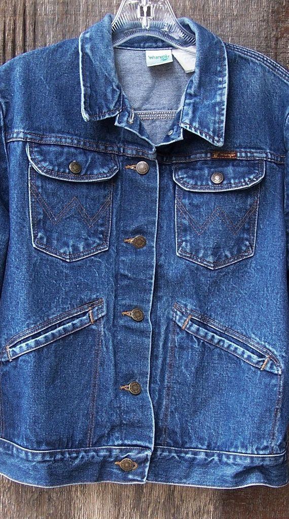 Vintage Wrangler Blue Faded Snap Front Bomber Jacket Coat L