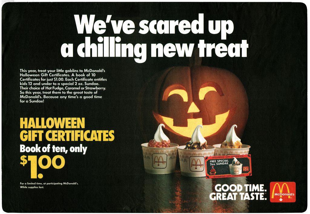 mcdonald's halloween gift certificates tray liners | mcdonalds ads ...