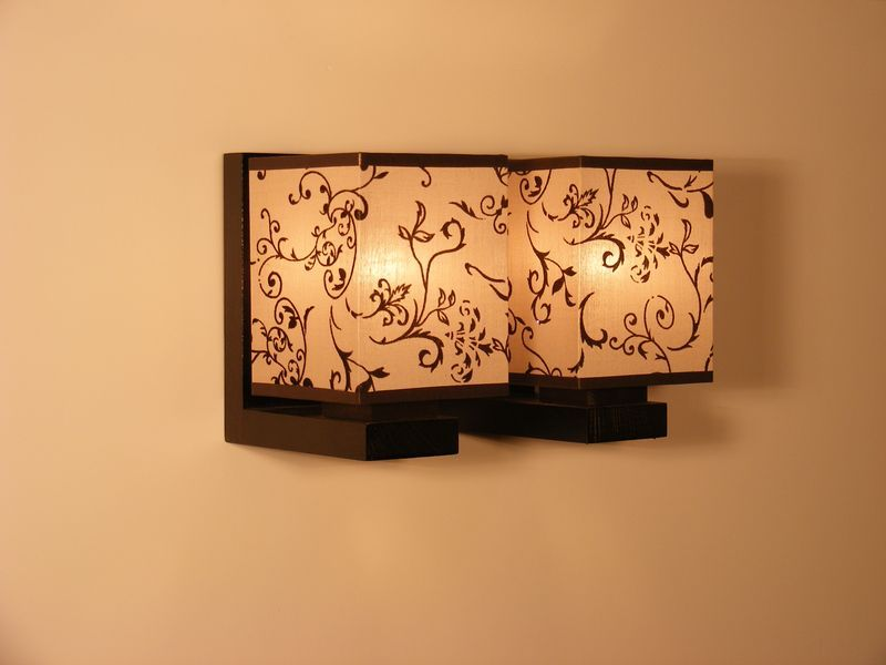 Lombardia wall sconce double lights wenge brown wooden frame flower lombardia wall sconce double lights wenge brown wooden frame flower printed fabric lamp shades http aloadofball Choice Image
