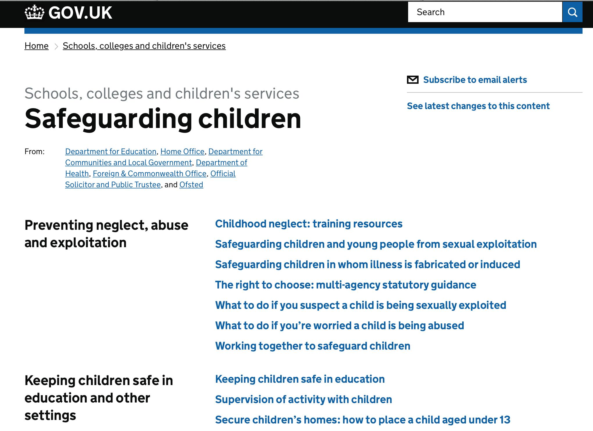 Gov uk - Schools, colleges and children's services