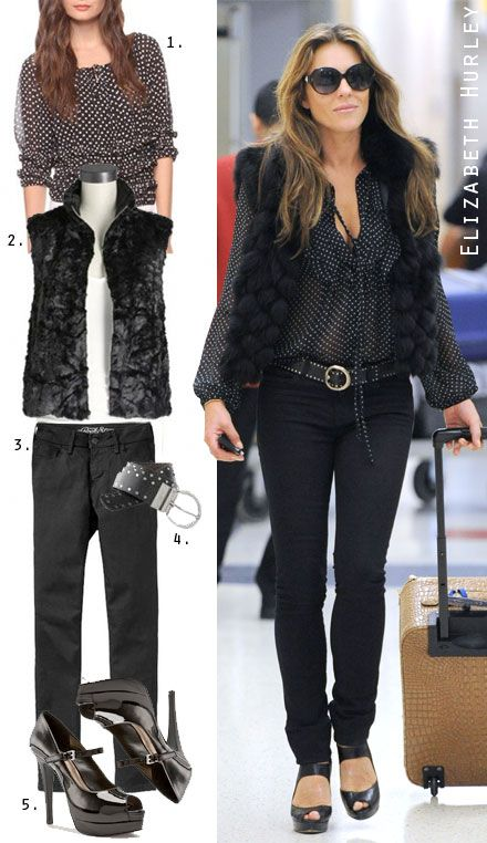 """1. Forever 21 Polka Dot Blouse $19.80  2. Eight Sixty Faux Fur Vest $92  3. Old Navy High-Rise Jeggings $34.94  4. Chap's for Kohl's Belt $28  5. BCBG """"Fortunax"""" Pump $59.95"""