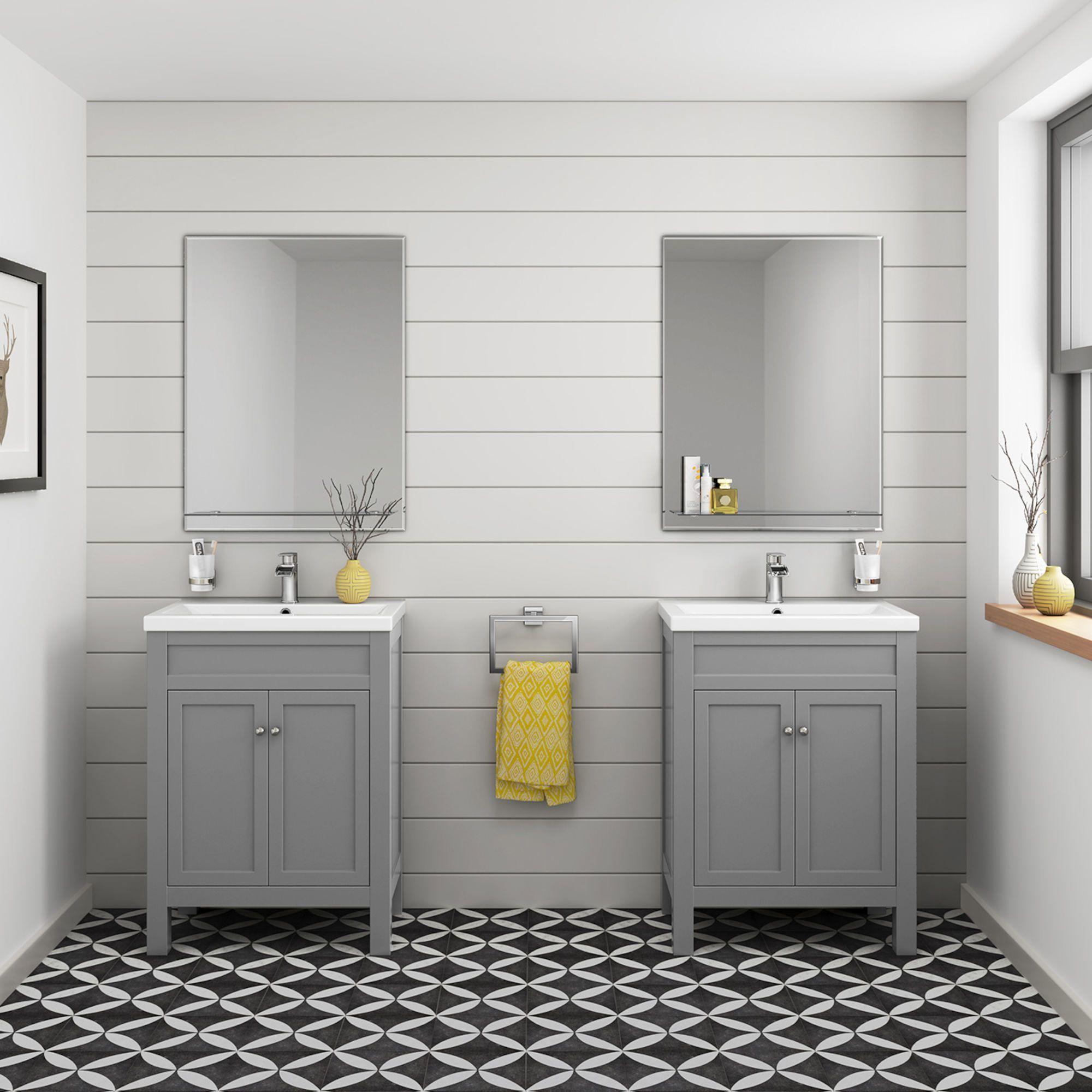 Grey Double Door Vanity Unit With Basin Melbourne 600mm Soak