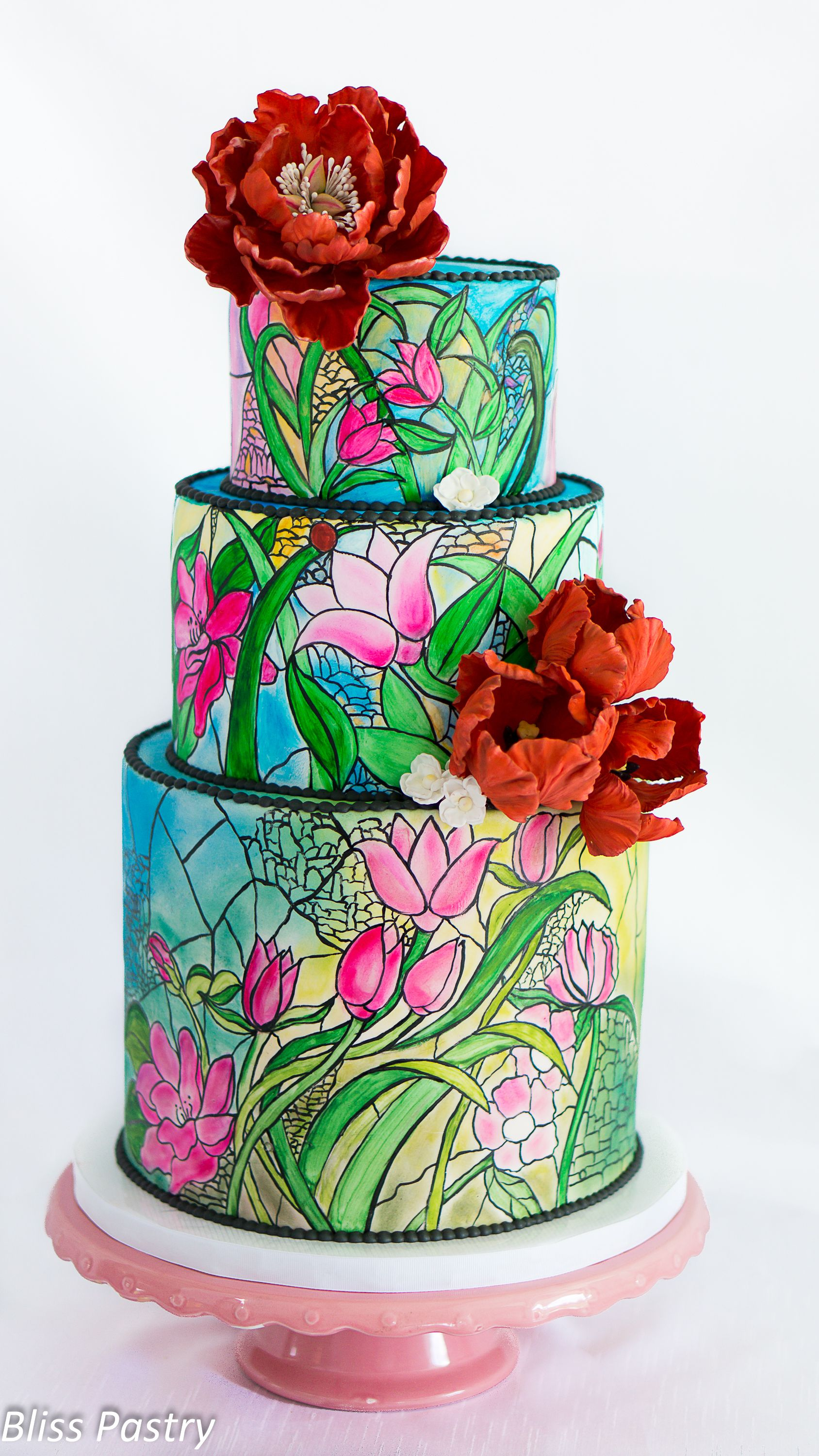 Stained Glass Wedding Cake - Bold and colorful stained glass wedding cake