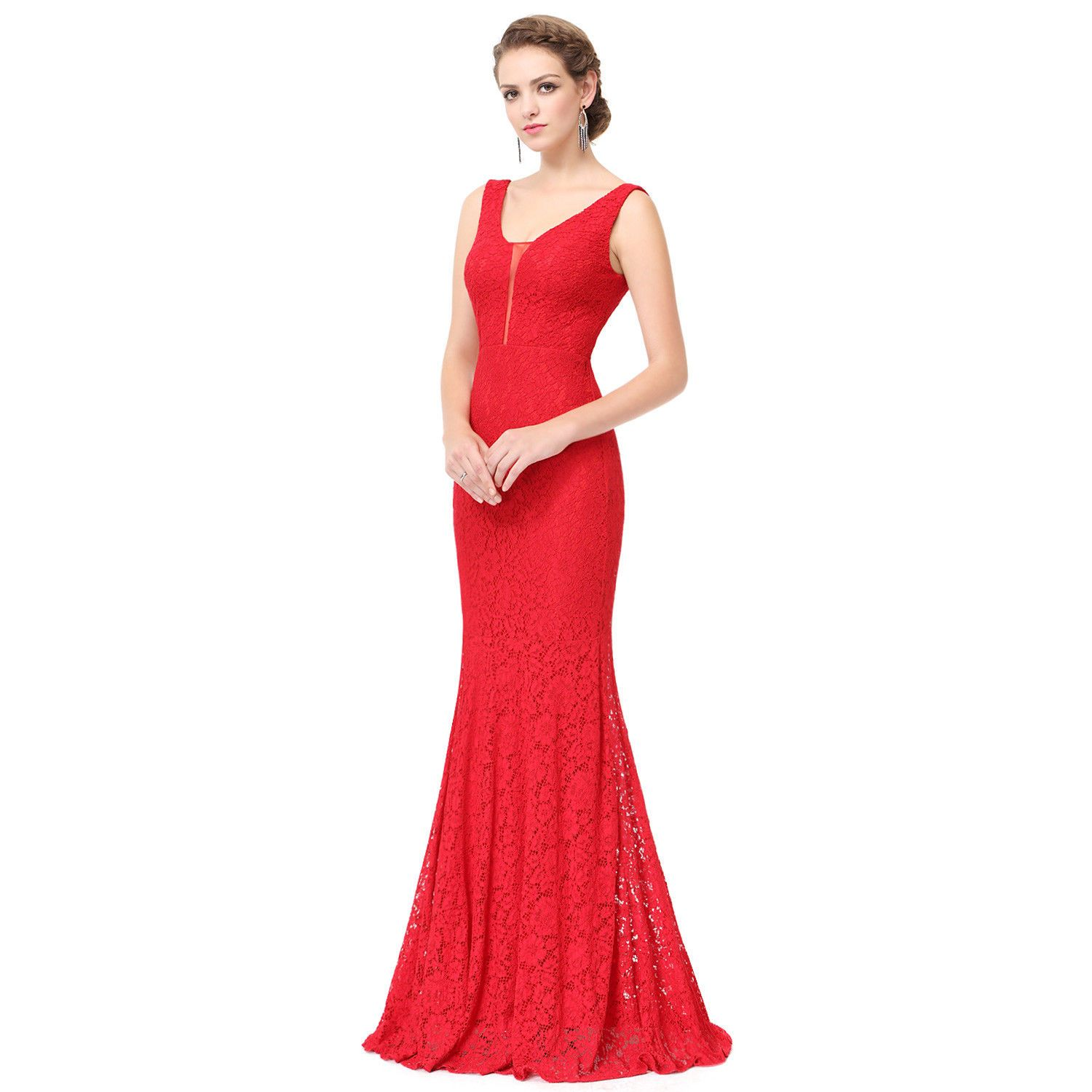 Cool women lace bodycon cocktail prom gown party fishtail dress red