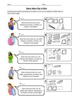 Dans Mon Sac-a-Dos - French School Supplies Worksheet | School ...
