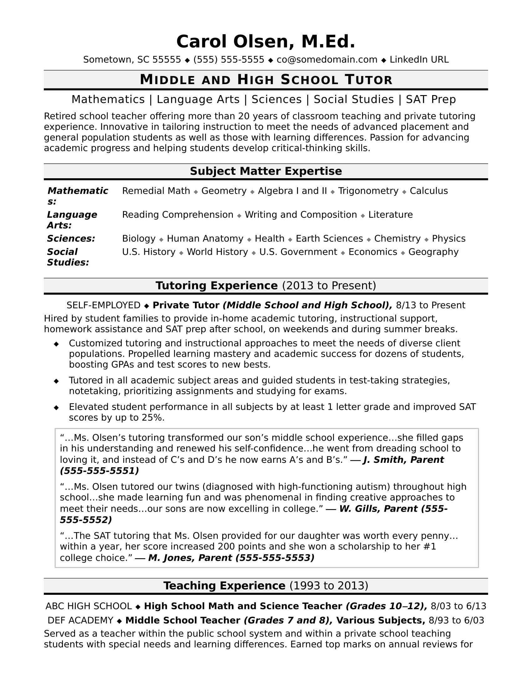 Tutor Resume Sample Student Resume Template High School Resume Template Business Resume Template