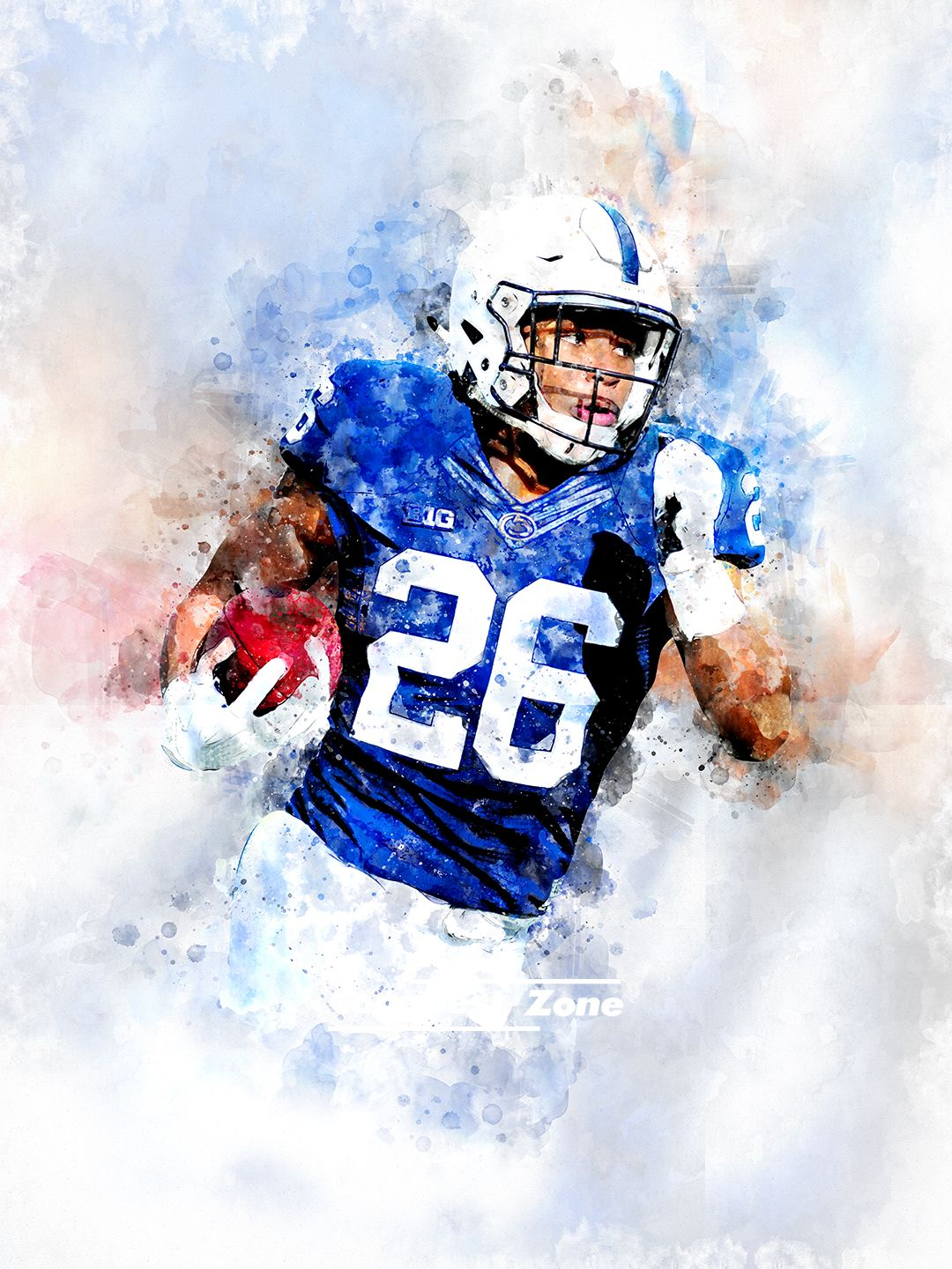 Saquon barkley art print illustration poster inspiring american
