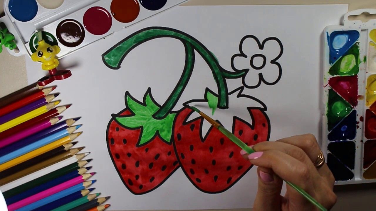 New coloring Fruits Strawberry and Coloring Pages Flowers, Snails ...